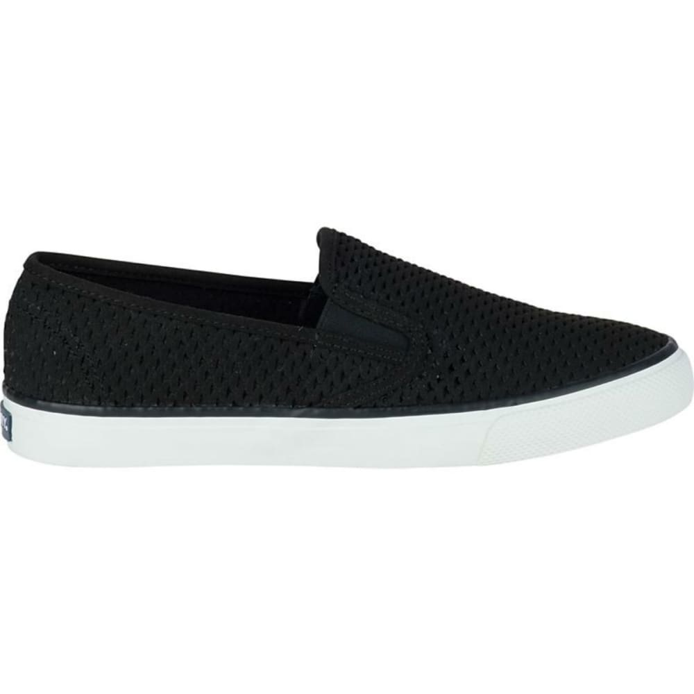 SPERRY Women's Seaside Scale Perf Slip-On Boat Shoes, Black - BLACK
