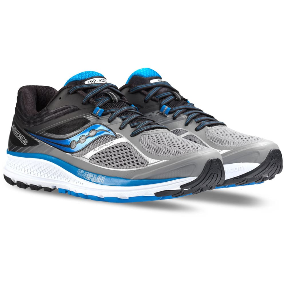 SAUCONY Men's Guide 10 Running Shoes, Grey/Black/Blue - GREY -1
