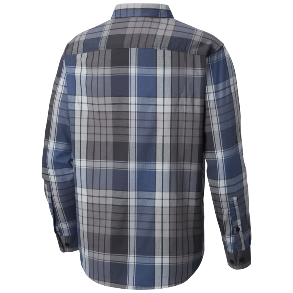 COLUMBIA Men's Cooper Lake Plaid Long-Sleeve Shirt - SHARK LARGE -012