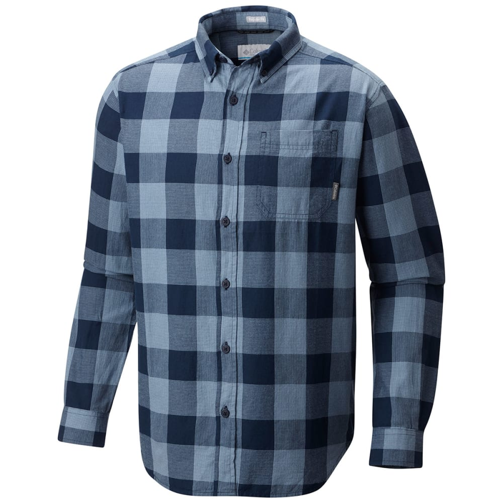 COLUMBIA Men's Cooper Lake Plaid Long-Sleeve Shirt - DK MIRAGE CHK-411