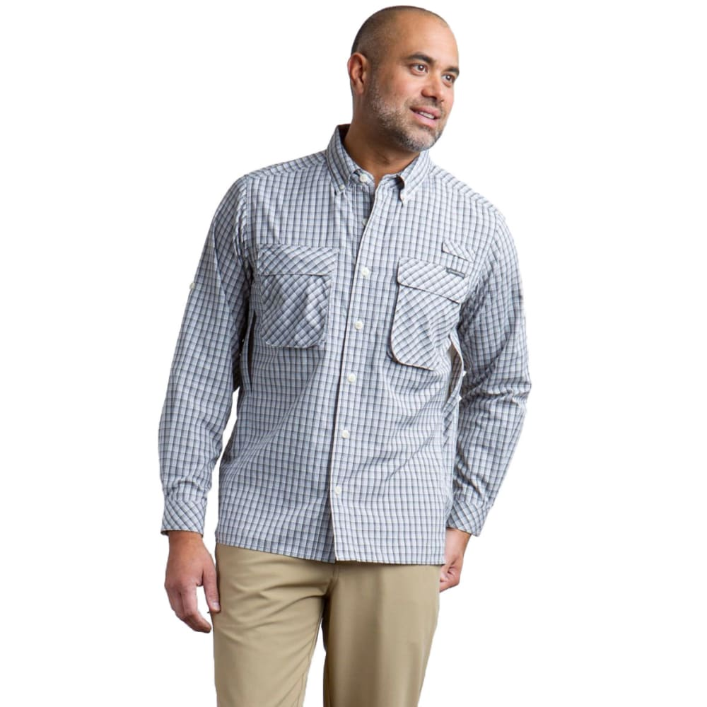 EXOFFICIO Men's Air Strip Micro Plaid Long-Sleeve Shirt - 9415-PEBBLE