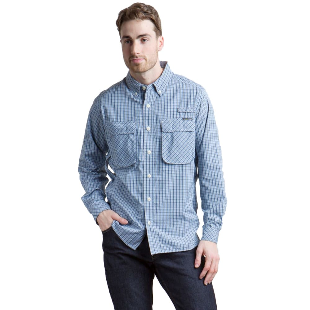 EXOFFICIO Men's Air Strip Micro Plaid Long-Sleeve Shirt - 9350-BLUE LEAD