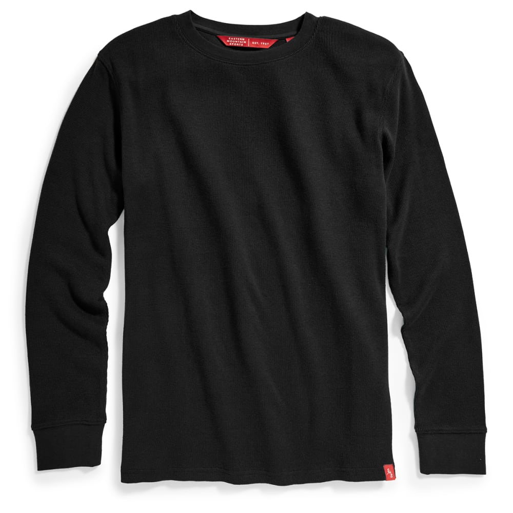 EMS Men's Rowan Waffle Crew Long-Sleeve Shirt - BLACK