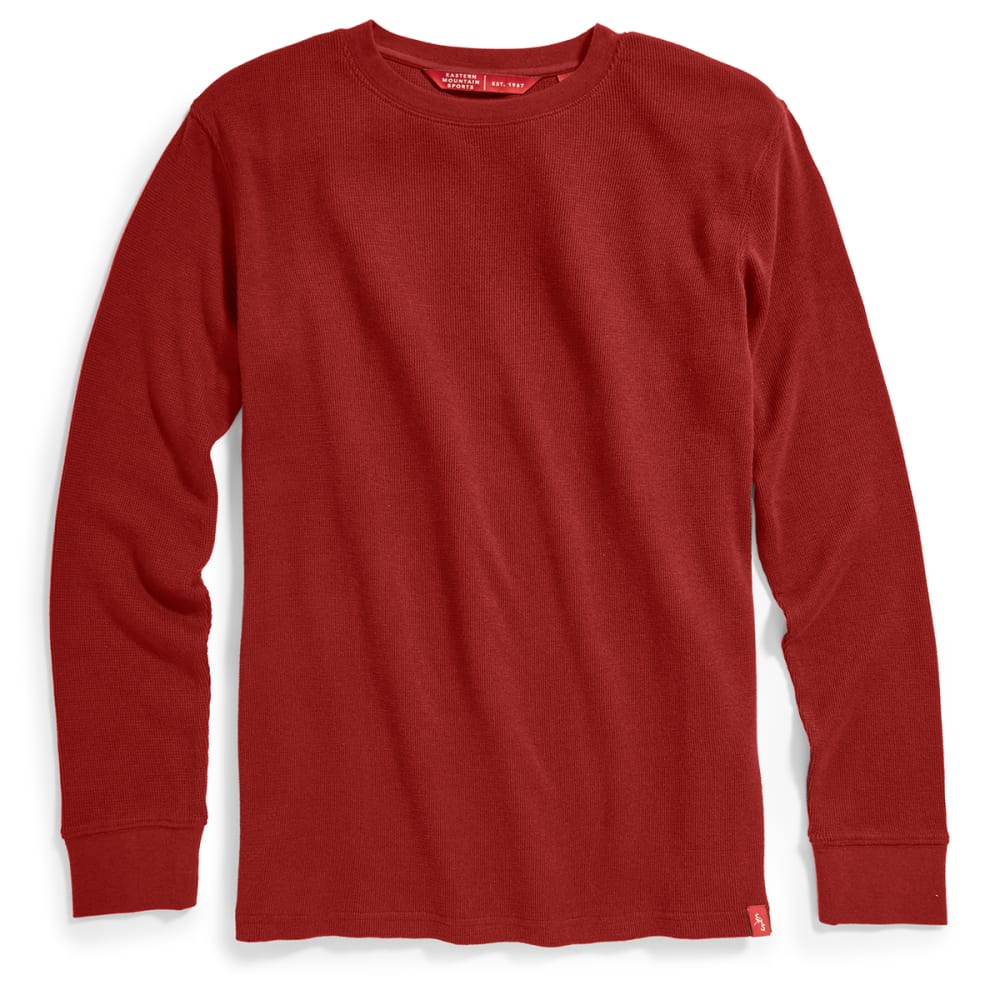 EMS Men's Rowan Waffle Crew Long-Sleeve Shirt - FIRED BRICK
