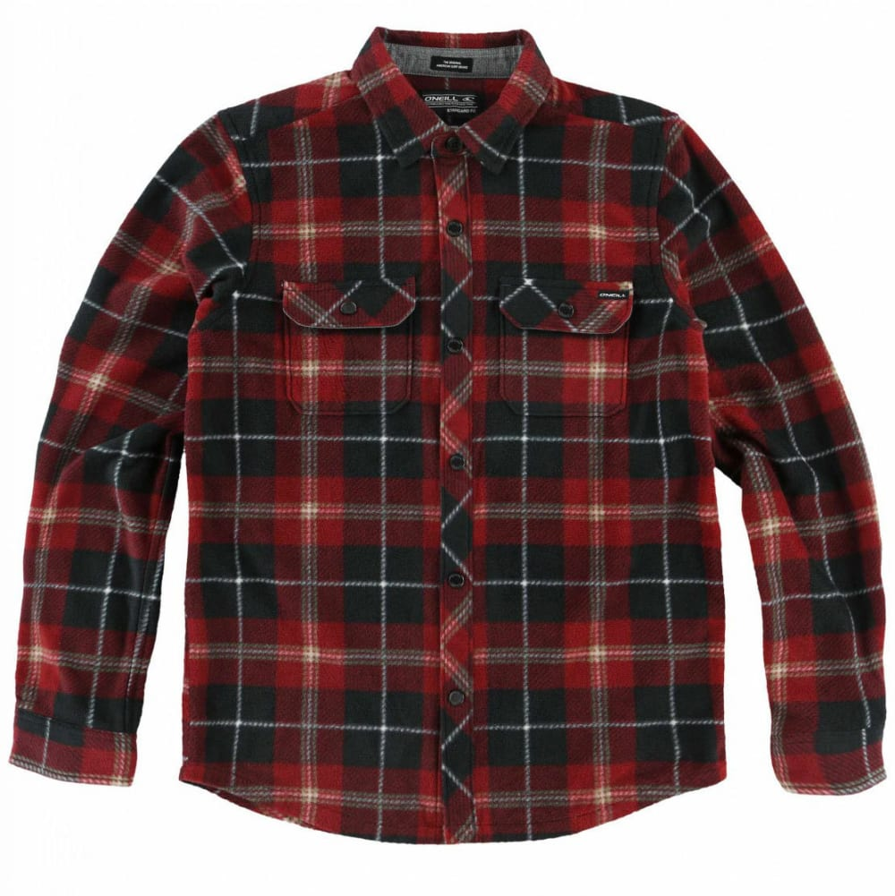 O'NEILL Boys' Glacier Plaid Long-Sleeve Shirt - BLK-BLACK