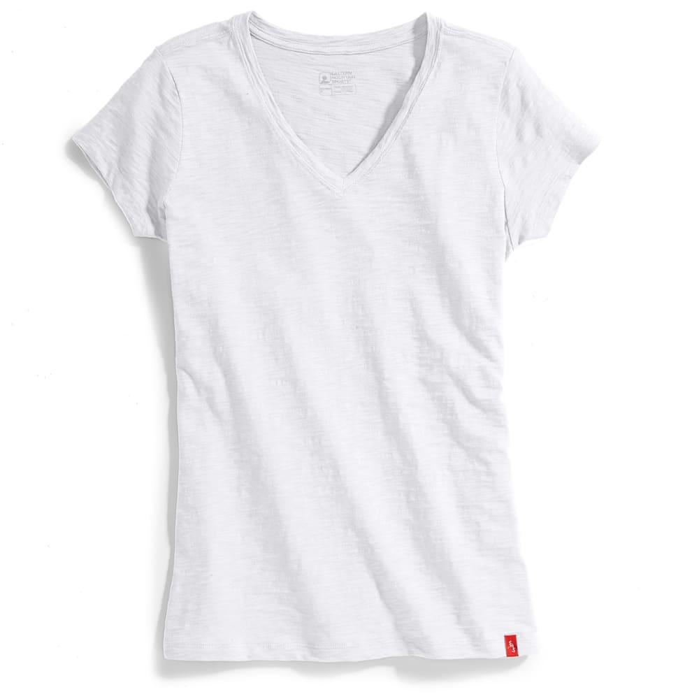 EMS Women's Solid Slub V-Neck Short-Sleeve Tee - Black - Size S S17W0736
