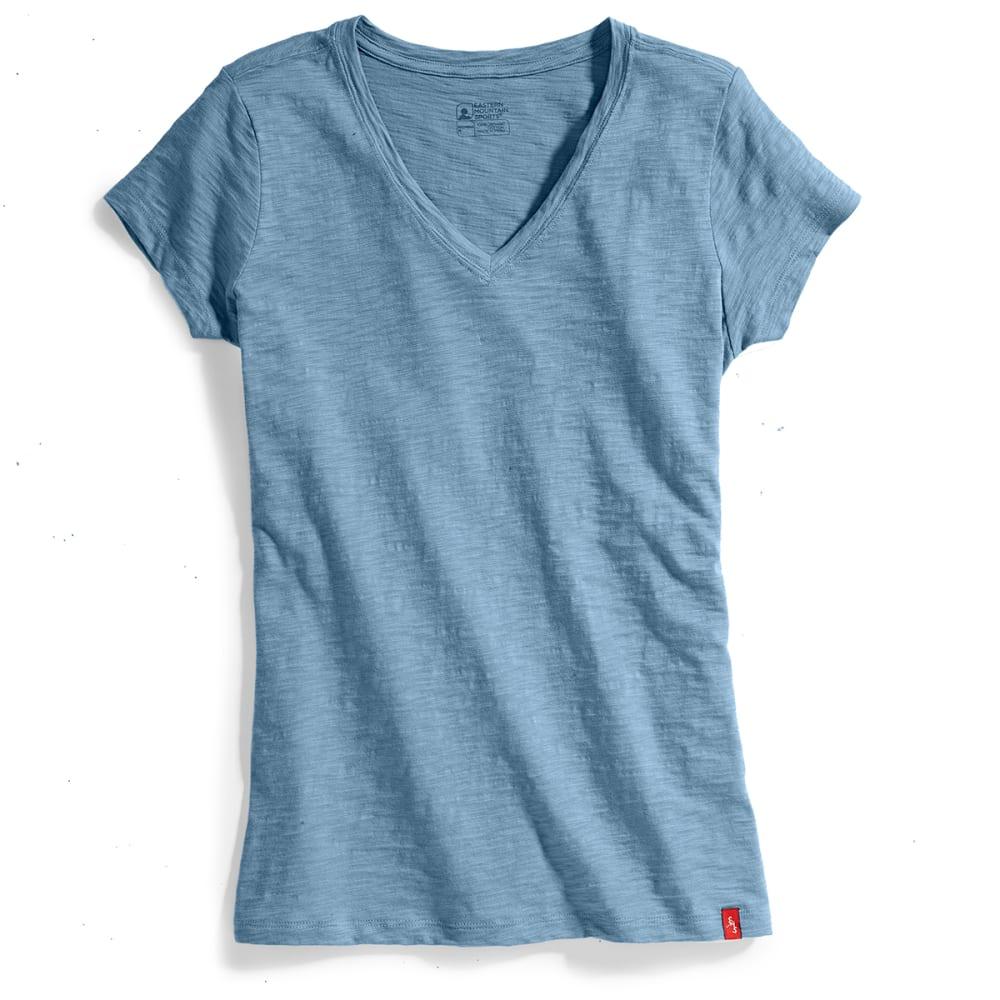 Ems Womens Solid Slub V-Neck Short-Sleeve Tee - Blue - Size L S17W0736