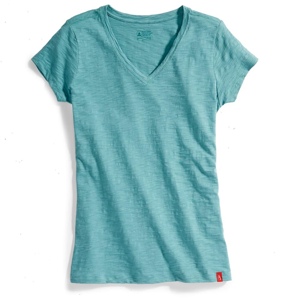 EMS Women's Solid Slub V-Neck Short-Sleeve Tee - FADED DENIM