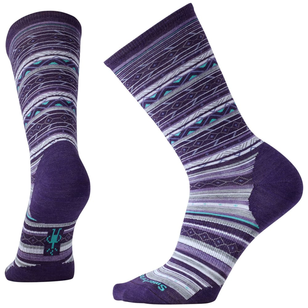SMARTWOOL Women's Ethno Graphic Crew Socks - MOUNTAIN PURPLE HTHR