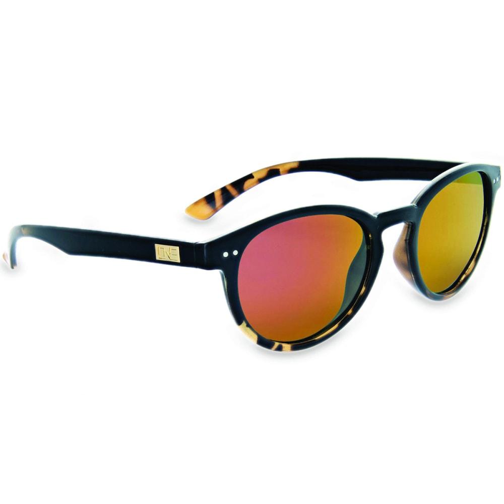 ONE BY OPTIC NERVE Women's Oscar Derento Polarized Sunglasses, Shiny Black - SHINY BLACK