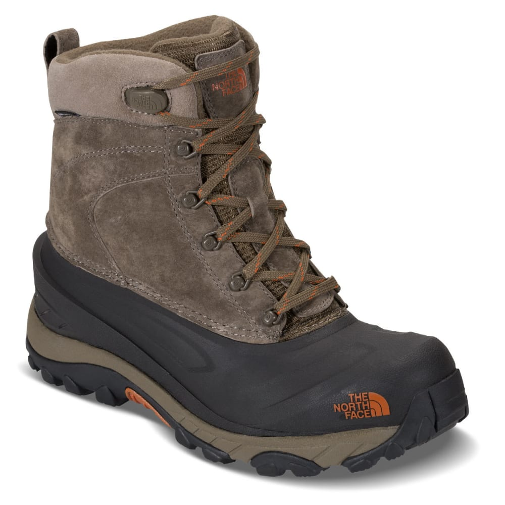 THE NORTH FACE Men's Chilkat III Lace-Up Mid Waterproof Winter Boots, Mudpack Brown/Bombay Orange 13