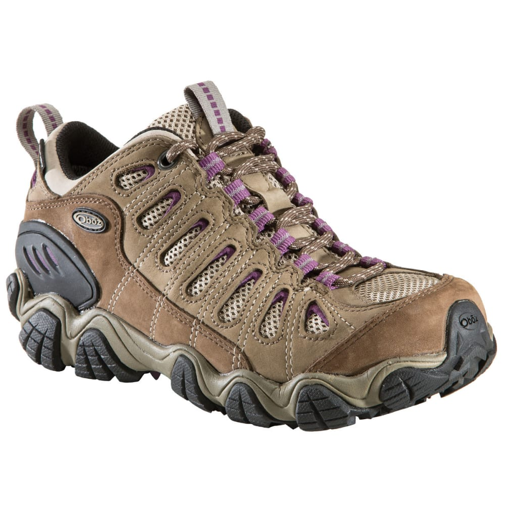 OBOZ Women's Sawtooth B-Dry Waterproof Low Hiking Shoes, Violet, Wide - VIOLET