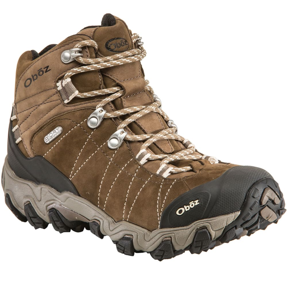OBOZ Women's Bridger B-Dry Waterproof Mid Hiking Boots, Walnut, Wide - WALNUT