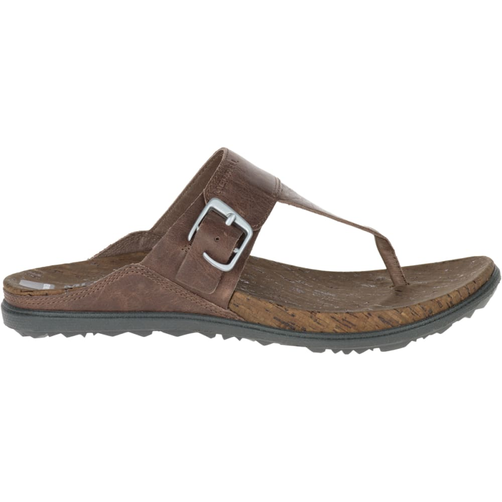 MERRELL Women's Around Town Post Sandals,Brown - BROWN