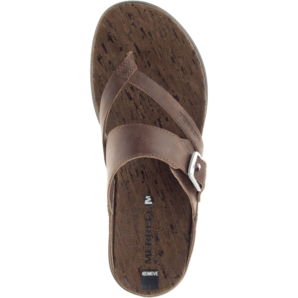 MERRELL Women's Around Town Thong Buckle Sandals, Brown - BROWN
