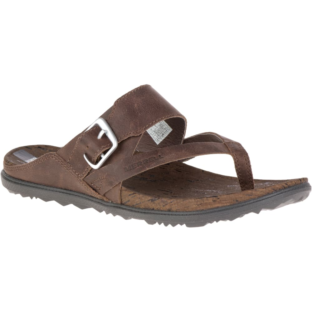 MERRELL Women's Around Town Thong Buckle Sandals, Brown - BROWN
