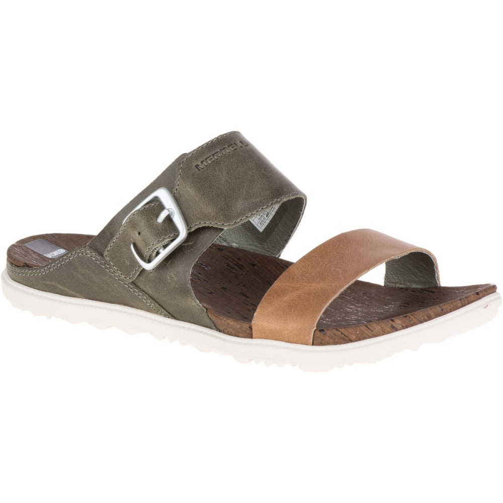 MERRELL Women's Around Town Buckle Slide Sandals, Vertiver - VERTIVER