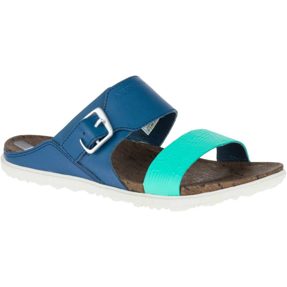MERRELL Women's Around Town Buckle Slide Sandals, Poseidon - POSEIDON