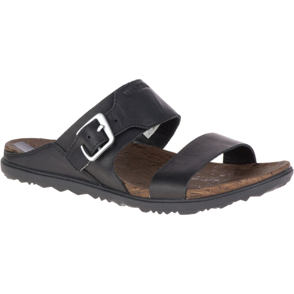 MERRELL Women's Around Town Buckle Slide Sandals, Black - BLACK