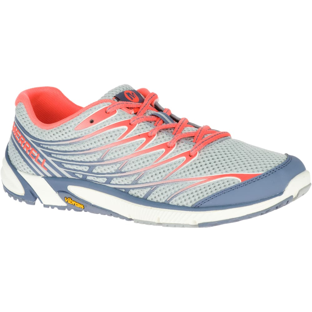 MERRELL Women's Bare Access Arc 4 Running Shoes, Sleet/ Vibrant  Coral - SLEET/VIBRANT CORAL