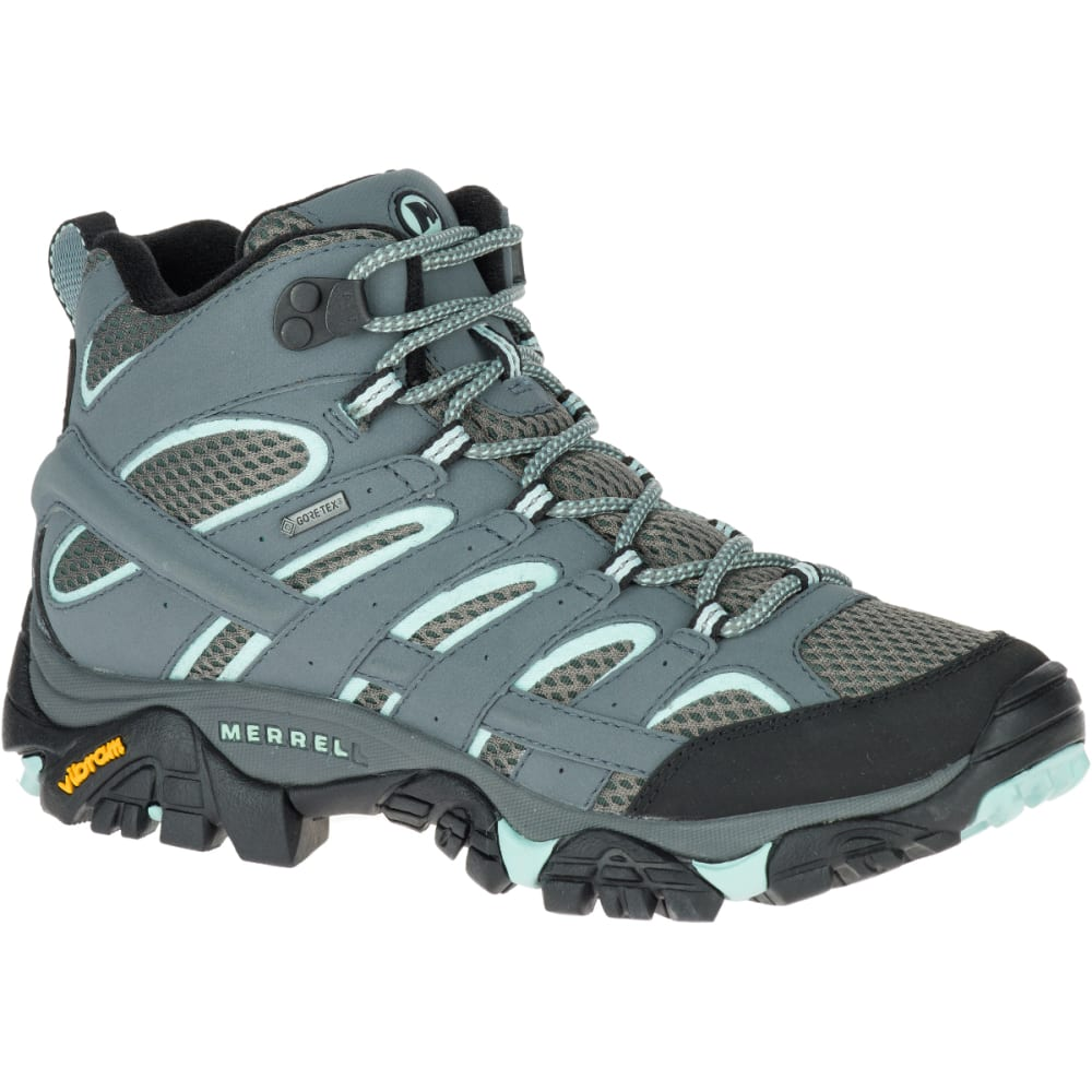 Merrell Women's Moab 2 Mid Gore- Tex Waterproof Hiking Boots, Sedona Sage - Black - Size 10.5 J06060