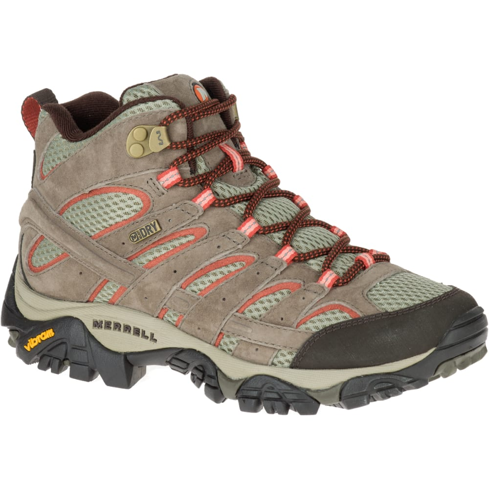 MERRELL Women's Moab 2 Mid Waterproof Hiking Boots, Bungee Cord, Wide - BUNGEE CORD