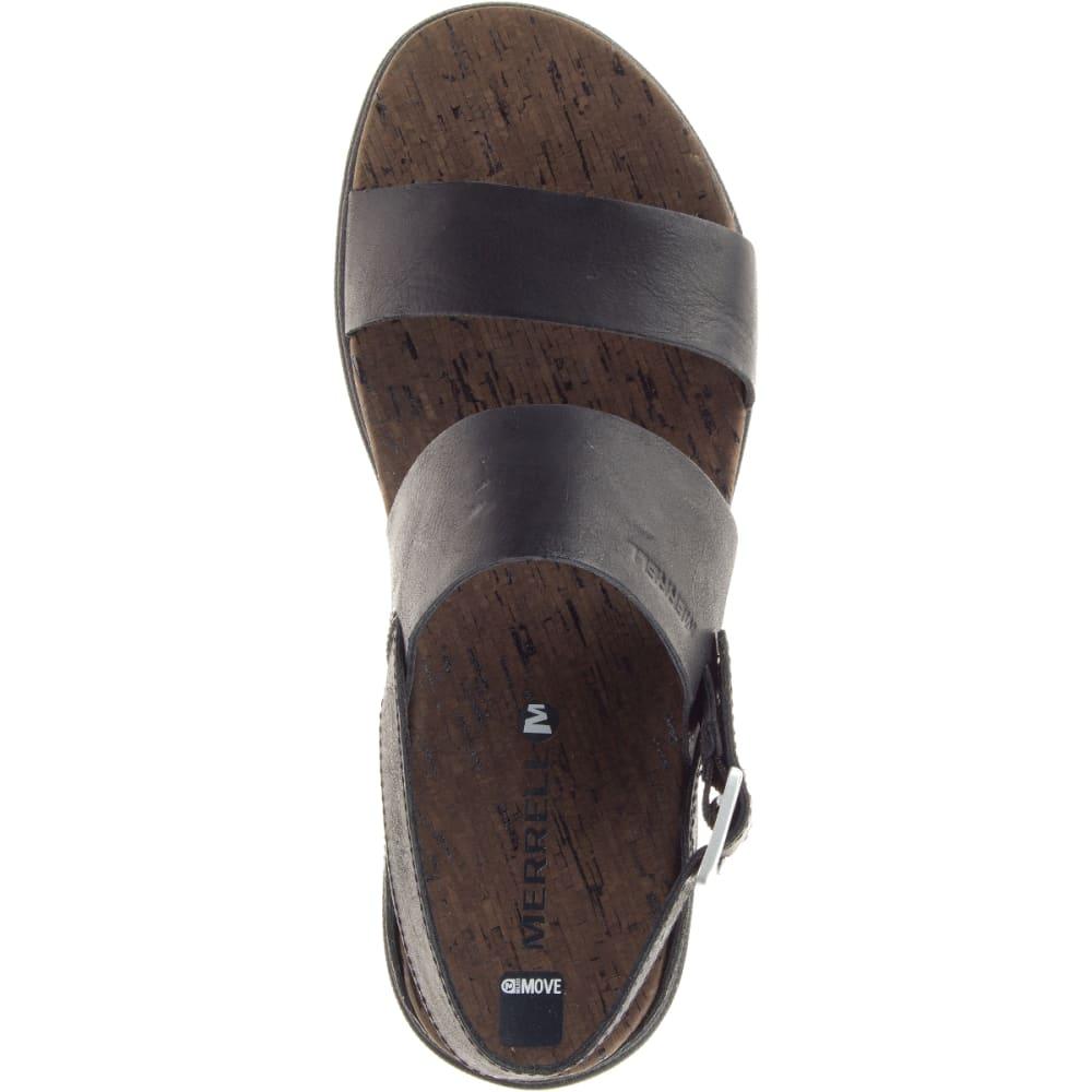 MERRELL Women's Around Town Buckle Slide Sandals, Black/ Brown - BLACK/BLACK