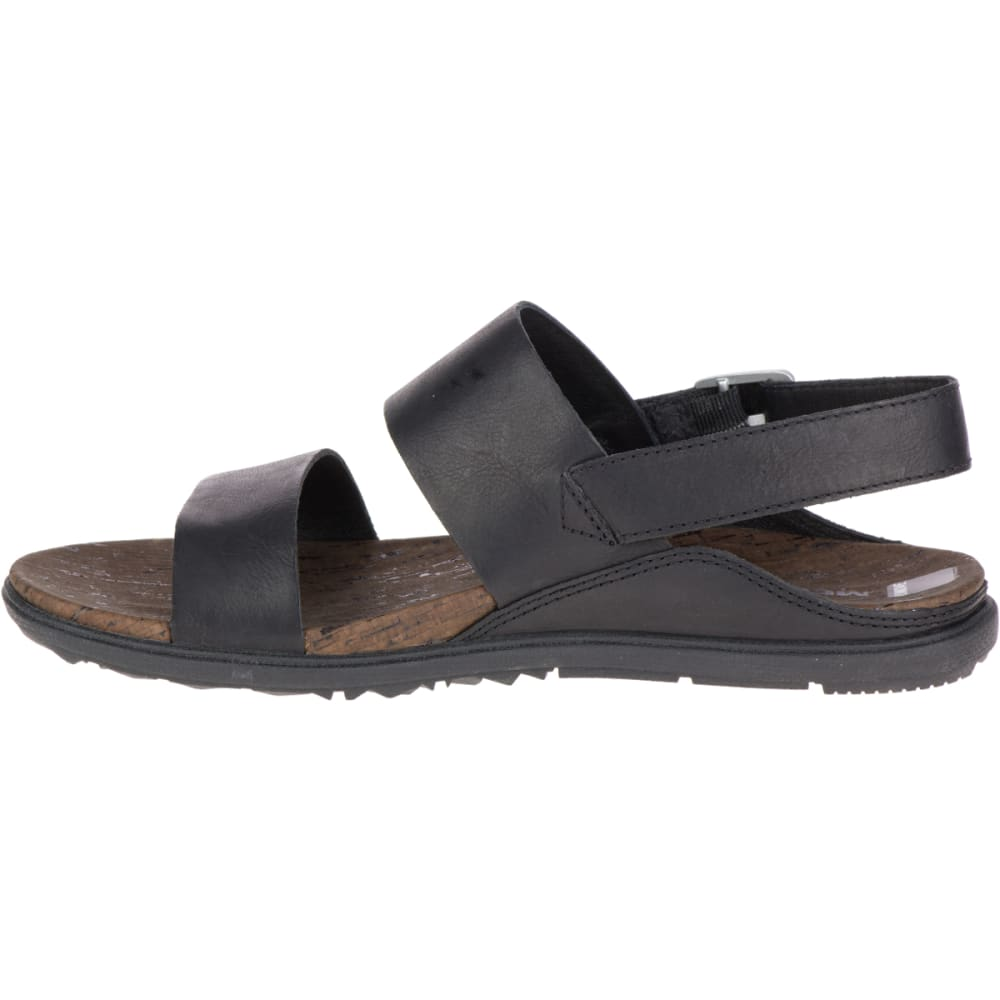 MERRELL Women's Around Town Buckle Slide Sandals, Black/ Brown - BLACK/BLACK