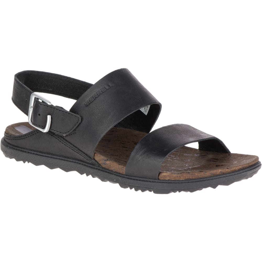 Merrell Women's Around Town Buckle Slide Sandals, Black/ Brown - Black