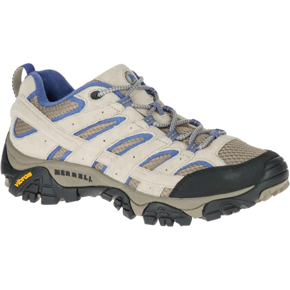 MERRELL Women's Moab 2 Ventilator Hiking Shoes, Aluminum/ Marlin Wide - ALUMINUM/MARLIN