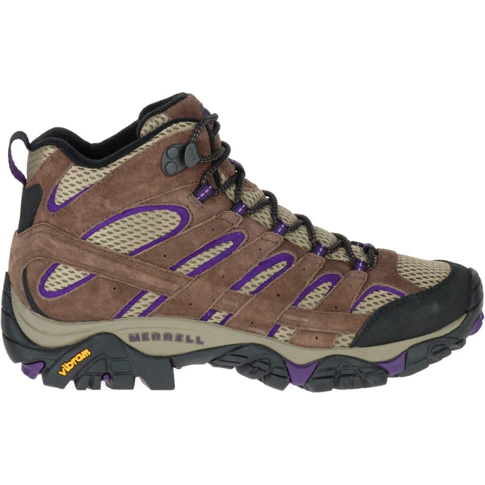MERRELL Women's Moab 2 Ventilator Mid Hiking Boots, Bracken/ Purple, Wide - BRACKEN/PURPLE