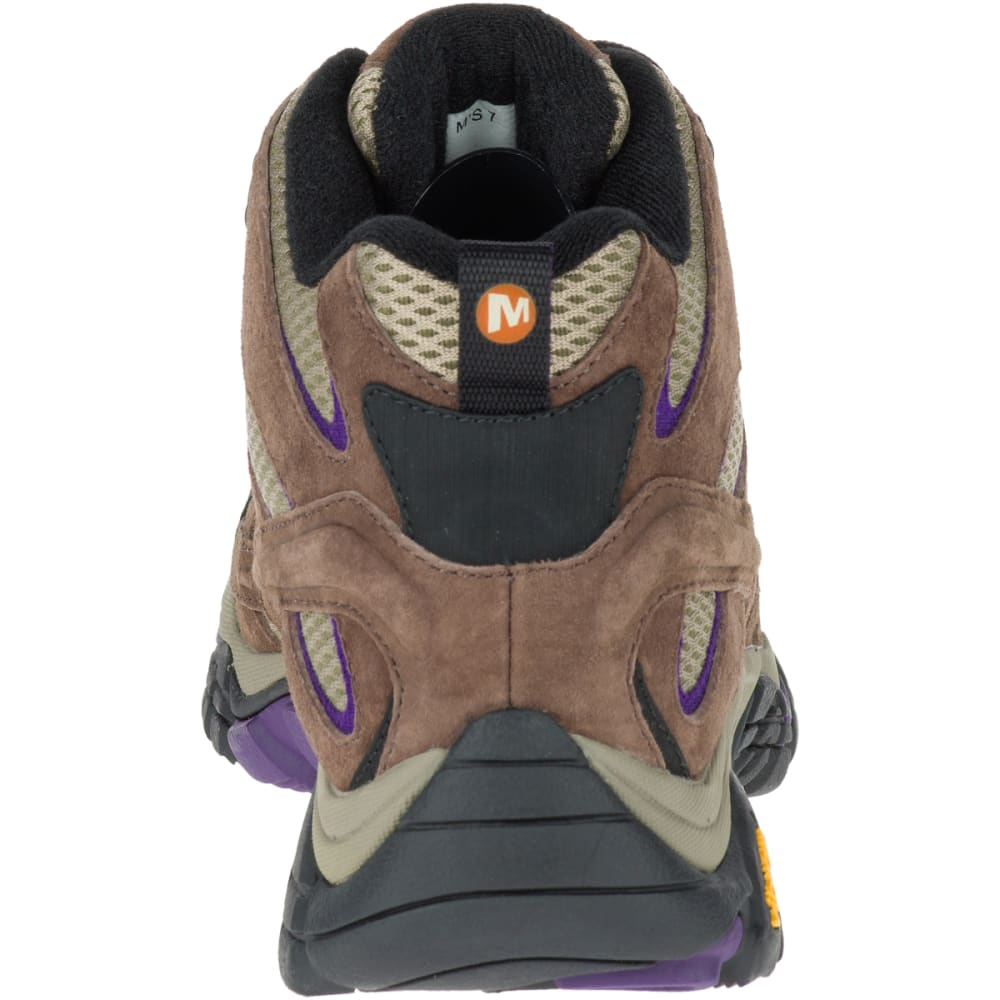MERRELL Women's Moab 2 Ventilator Mid Hiking Boots, Bracken/ Purple, Wide - BRACKEN/PURPLE