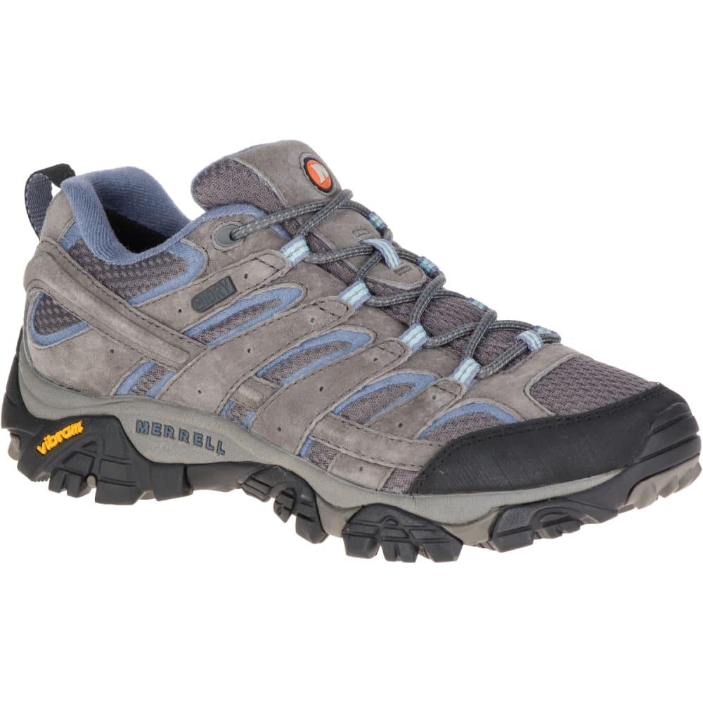 MERRELL Women's Moab 2 Waterproof Hiking Shoes, Granite, Wide 5
