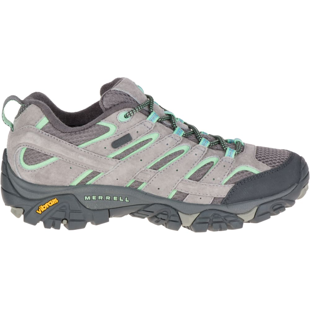 MERRELL Women's Moab 2 Waterproof Hiking Boots, Drizzle/ Mint,Wide - DRIZZLE/MINT