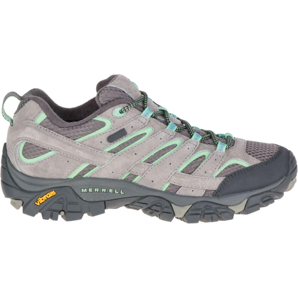 MERRELL Women's Moab 2 Waterproof Hiking Shoes, Drizzle/ Mint,Wide - DRIZZLE/MINT