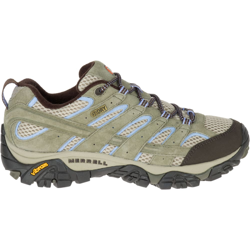 MERRELL Women's Moab 2 Waterproof Hiking Shoes, Dusty Olive, Wide - DUSTY OLIVE