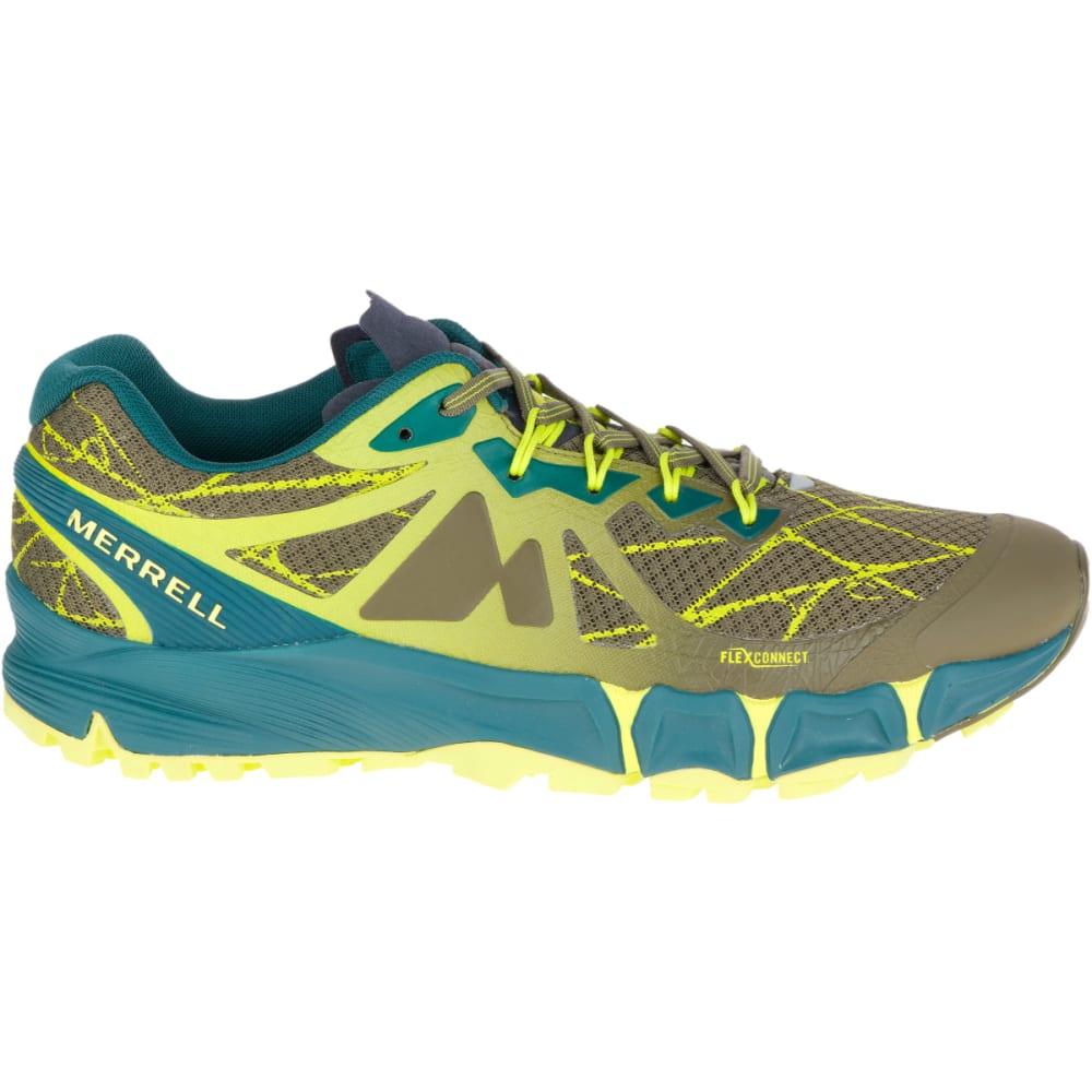 MERRELL Men's Agility Peak Flex Trail Running Shoes, Dark Olive - DARK OLIVE