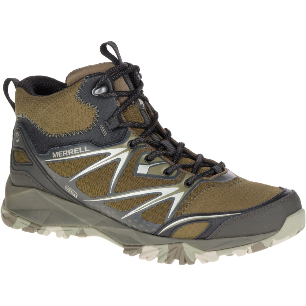 MERRELL Men's Capra Bolt Mid Waterproof Hiking Boots, Dark Olive -