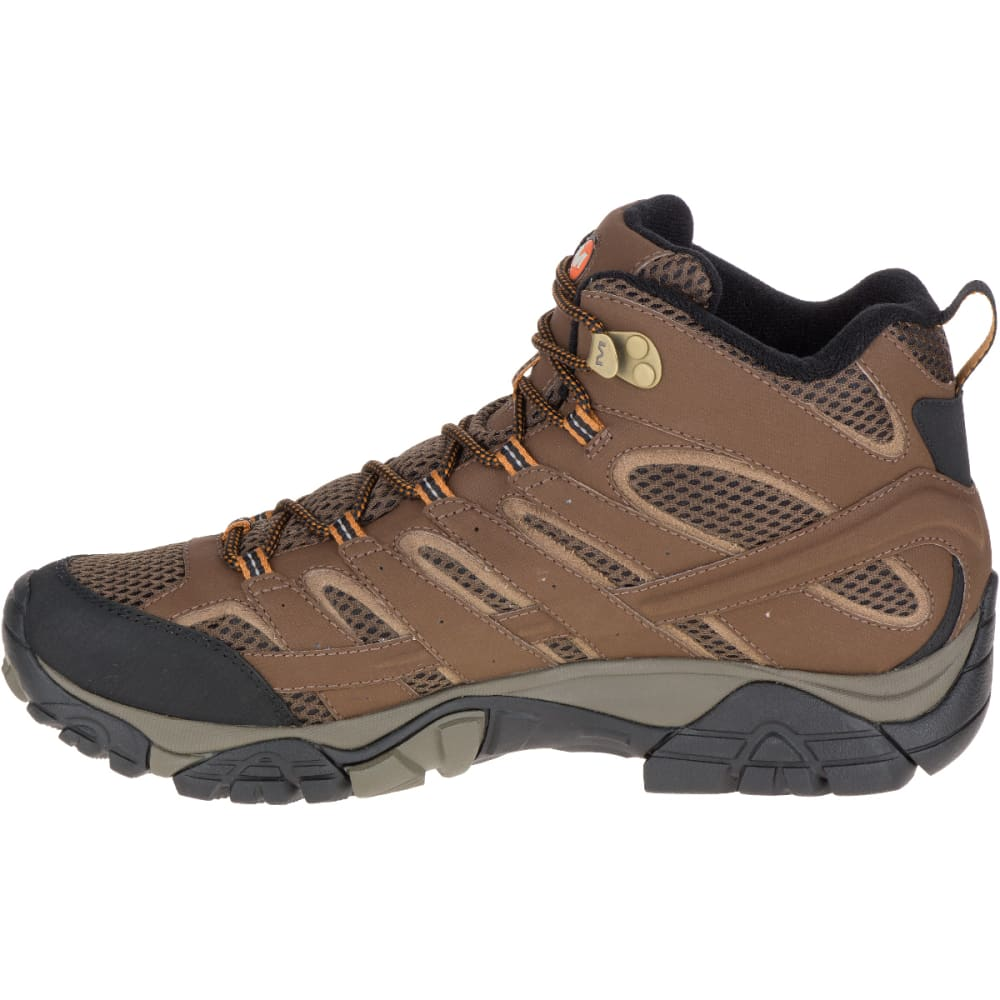 moab men Merrell's men's adventure mid waterproof shoes are built on their iconic moab platfrom for stablilty and traction you can trust constructed with nubuck leather and mesh uppers for incredible durability.