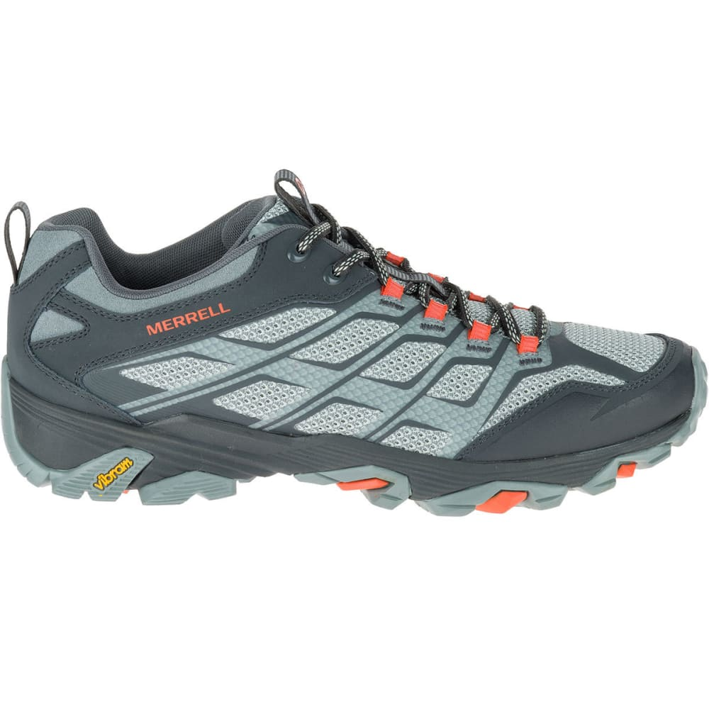 MERRELL Men's Moab FST Hiking Shoes, Grey/Orange - GREY/ORANGE