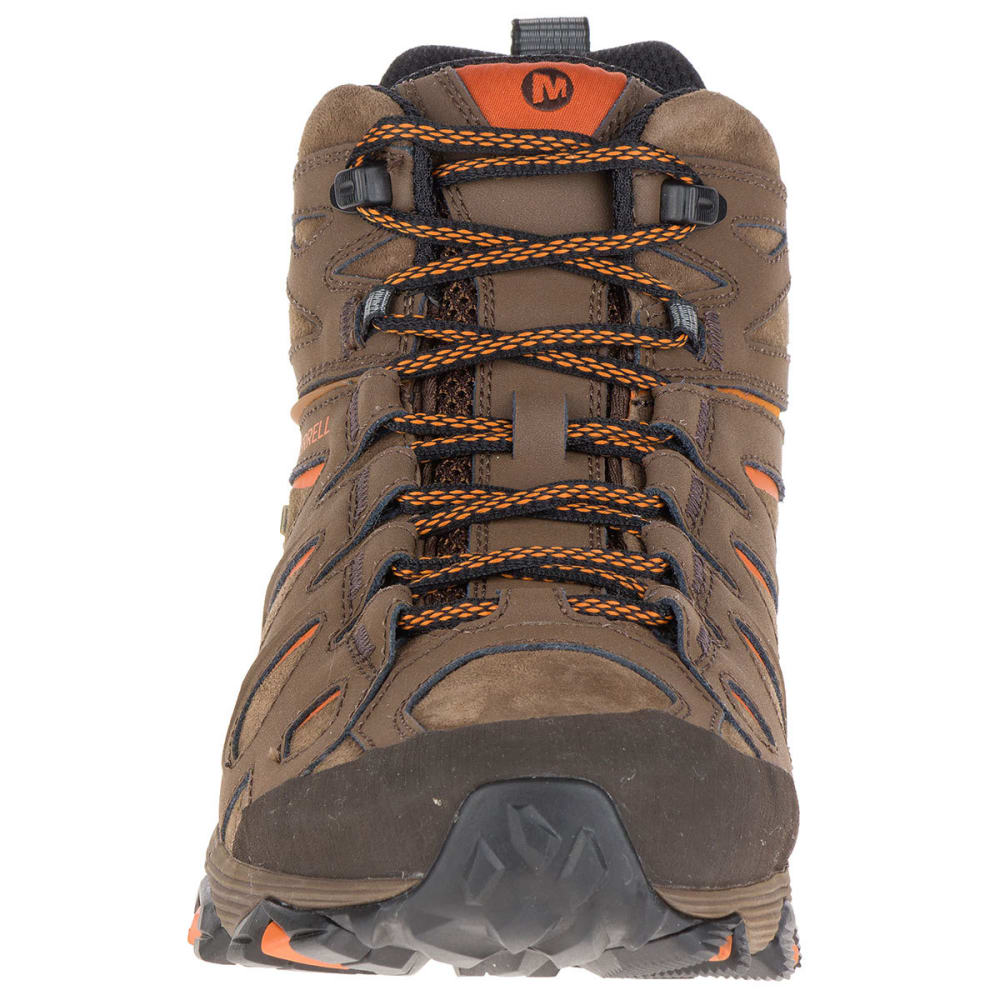 MERRELL Men's Moab FST Leather Mid Waterproof Hiking Boots, Dark Earth, Wide - DARK EARTH