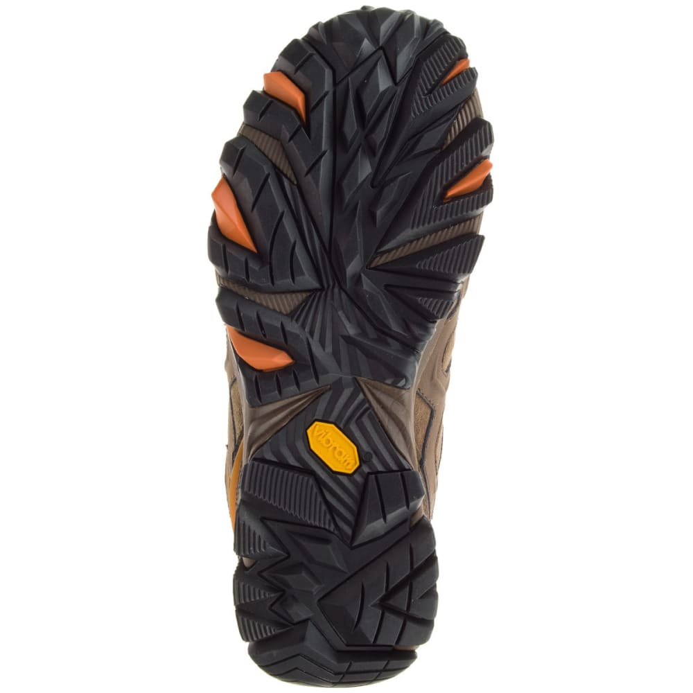 MERRELL Men's Moab FST Leather Mid Waterproof Hiking Boots, Dark Earth, Wide - DARK EARTH