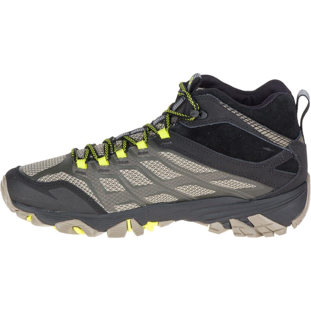 MERRELL Men's Moab FST Mid Waterproof Hiking Boots, Olive Black, Wide - OLIVE BLACK