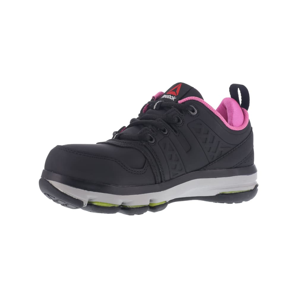 REEBOK WORK Women's DMX Flex Work Alloy Toe Work Shoes, Black/ Pink, Wide - BLACK/PINK