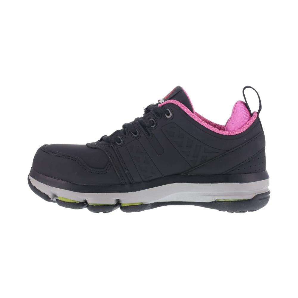 REEBOK WORK Women's DMX Flex Work Alloy Toe Work Shoes, Black/ Pink, Wide - BLACK/PINK