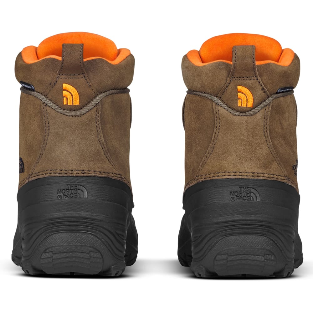 THE NORTH FACE Boys' Chilkat Lace II Waterproof Winter Boots, Mudpack Brown/Sienna Orange - TRMC GRN/SCR-5QB