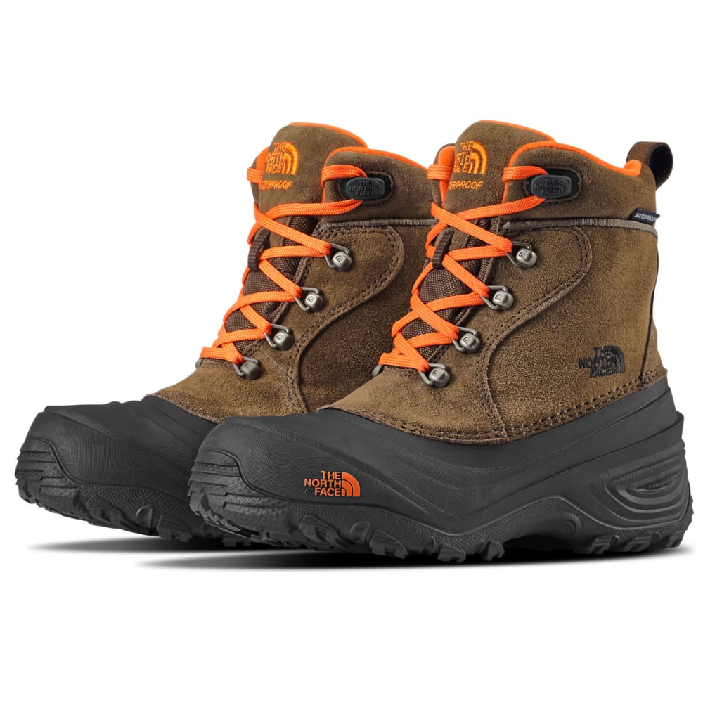 THE NORTH FACE Boys' Chilkat Lace II Waterproof Winter Boots, Mudpack Brown/Sienna Orange 4