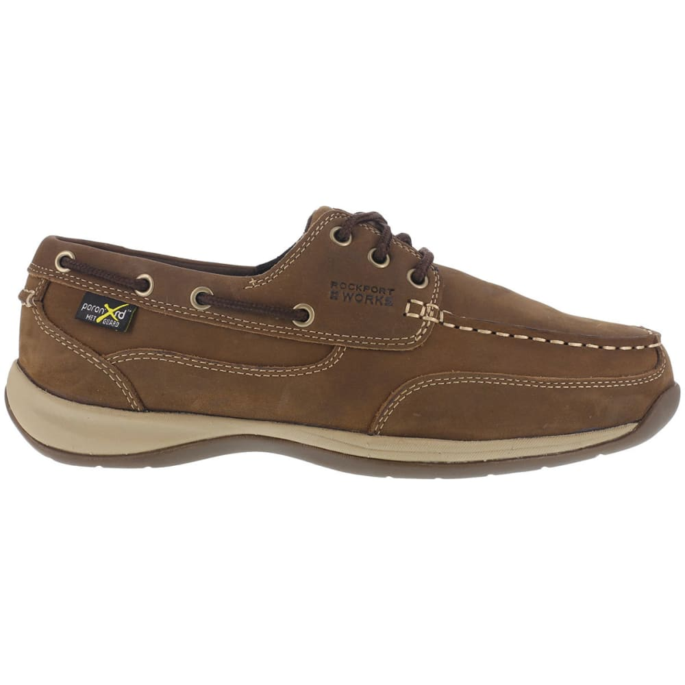 ROCKPORT WORKS Women's Sailing Club Steel Toe Boat Shoes, Brown, Wide 6