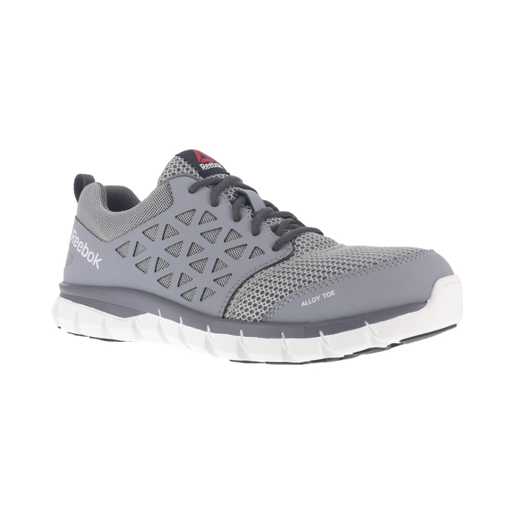 REEBOK WORK Men's Sublite Cushion Work Alloy Toe Work Shoes, Grey, Wide 8