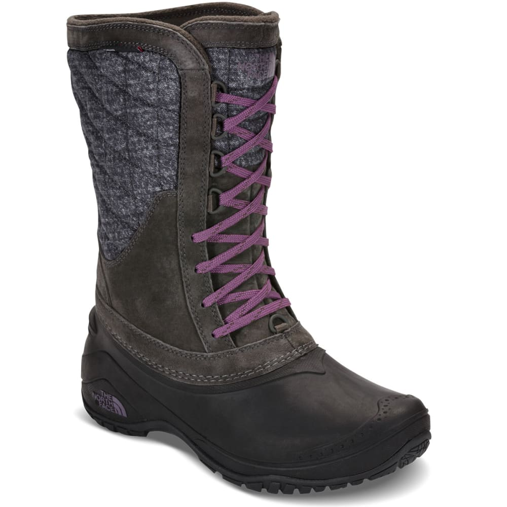 THE NORTH FACE Women's ThermoBall Utility Mid Waterproof Boots, Burnished Houndstooth Print/Black Plum - BURN HOUNDSTOOTH/BLK